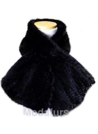 Knitted Mink Fur Black Scarf Women's