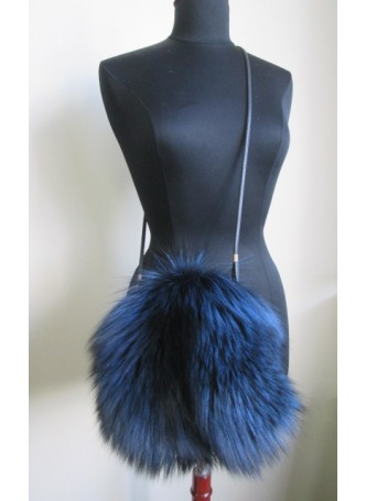 Silver Fox Fur Bag Purse Cross Body Shoulder Bag Hand Muff Warmer Blue Women's