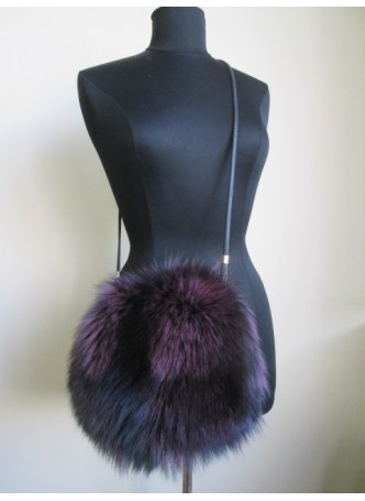 Silver Fox Fur Bag Purse Shoulder Bag Cross Body Hand Muff Warmer Purple Women's