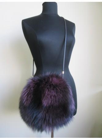 Silver Fox Fur Bag Purse Shoulder Bag Cross Body Hand Muff Warmer Purple Women's