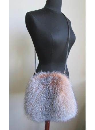 Fox Fur Crystal Bag Purse Shoulder Bag Cross-Body Hand Muff Warmer Women's