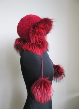 Alpaca Wool Hat w/ Red Silver Fox Fur Women Men