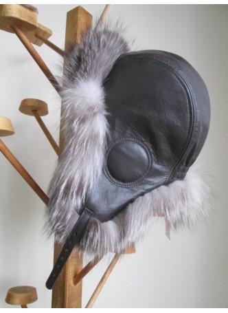 Fox Fur Natural Crystal w/ Black Leather Hat Aviator Trooper Men's Women's UNISEX