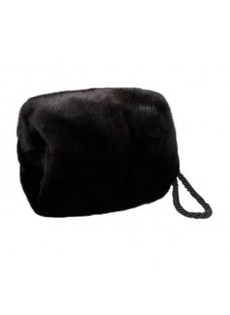 Mink Fur Purse Bag Hand Muff Warmer Women's  Dark Ranch