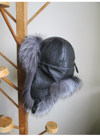 Silver Fur Hat w/ Black Leather Aviator Trooper Women's Men's UNISEX
