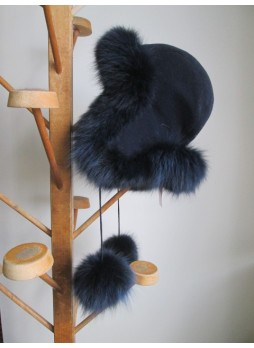 Alpaca Wool Hat w/ Navy Blue Silver Fox Fur Women Men