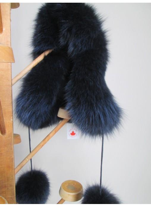 cf67d915f4a Alpaca Wool Hat w  Navy Blue Silver Fox Fur Women Men