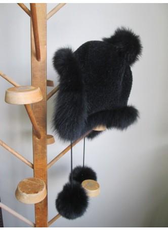 Alpaca Wool Hat w/ Black Silver Fox Fur Women Men