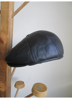 Men's Black Leather Black Cap Hat Man