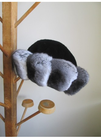 Chinchilla & Black Mink Fur Hat Women's