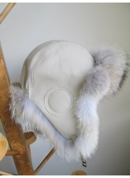 Coyote Fur Hat  w/  Leather Aviator Trooper Beige Women's Men's UNISEX