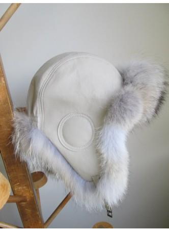 Coyote Fur Hat  w/  Leather Aviator Trooper Beige Women's Men's UNISEX