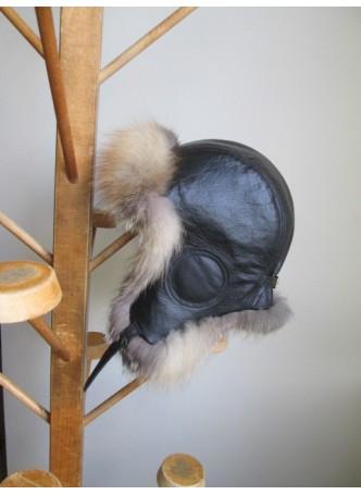 Fox Fur w/ Black Leather Hat Aviator Trooper Men's Women's UNISEX