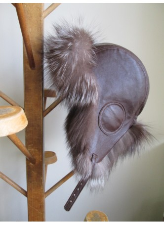 Fox Fur Natural Crystal w/ Dark Brown Leather Hat Aviator Trooper Men's Women's UNISEX