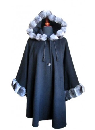 Cashmere, Wool w/ Chinchilla Fur Wrap Cape Poncho w/ Hood & Sleeves Black Women's