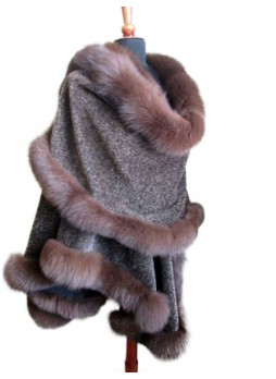 Alpaca Wool w/ Fox Fur Wrap Cape Brown Women's