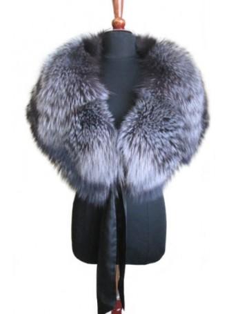 Silver Fox Fur  Cape Wrap Collar Stole Women's