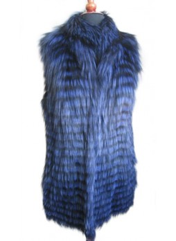 Silver Fox Fur Vest Blue Women's