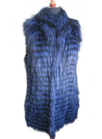 Silver Fox Fur Vest Blue Women's