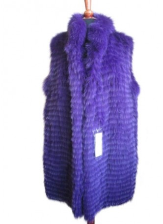 Silver Fox Fur Vest Purple Women's
