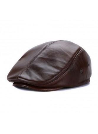 Men's Brown Leather Black Cap Hat Man