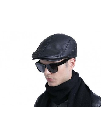 Men's Black Leather Black Cap Hat Man
