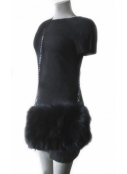 Real Fox Fur Black Bag Purse Shoulder Bag Cross-Body Hand Muff Warmer Women's