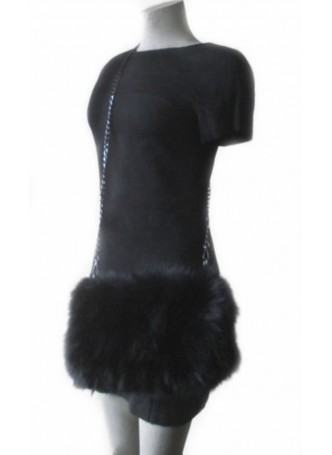 Real Fox Fur Black Bag Purse Shoulder Bag Cross-Body Hand Muff Warmer Women's