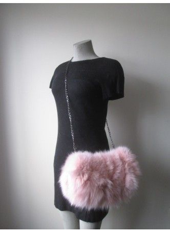 Fox Fur Pink Bag Purse Shoulder Bag Cross-Body Hand Muff Warmer Women's