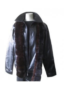 Men's Mink Fur Scarf Man Collar Natural Dark Ranch
