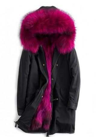 Winter Jacket Coat Parka with Hood Pink Finn Raccoon Fur Trims & Lining Women's