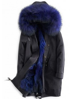 Winter Jacket Coat with Hood, Blue Finn Raccoon Fur Trims & Lining Women's Fur Parka