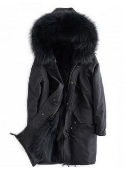 Winter Jacket Coat with Hood, Black Finn Raccoon Fur Trims & Lining Women's