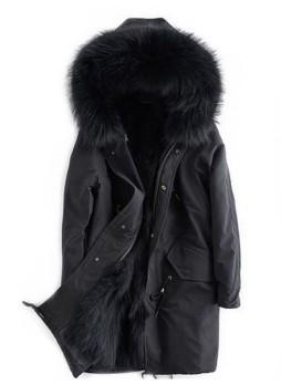 Winter Jacket Coat Parka with Hood, Black Finn Raccoon Fur Trims & Lining Women's
