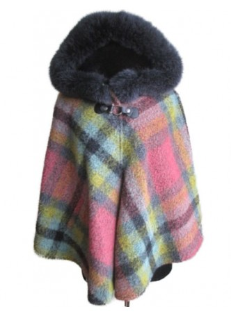 Alpaca Wool w/ Fox Fur Wrap Cape Shawl Poncho w/ Hood Pink Women's