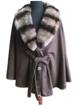 Cashmere 100% with Rex Rabbit Chinchilla Fur Wrap Cape Shawl Brown Women's