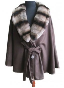 Cashmere 100% with Rex Rabbit Chinchilla Fur Wrap Cape Shawl Brown Women's