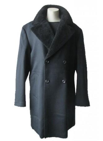 Men's Black Winter Coat with Black Sheared Lamb Fur Collar Man
