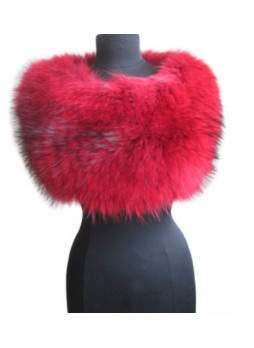 Knitted Fox Fur Red Wrap Tube Eternity Scarf Collar Stole Women's