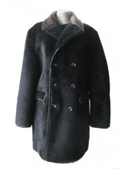 Men's Bon Mouton Lamb Fur Coat Jacket Black XL