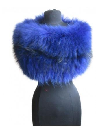Knitted Silver Fox Fur Blue Wrap Tube Eternity Scarf Collar Stole Women's