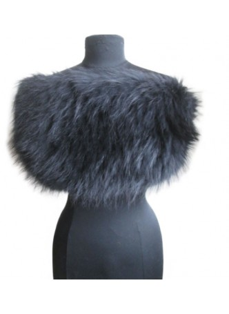 Knitted Silver Fox Fur Black Wrap Tube  Eternity Scarf Collar Stole Women's
