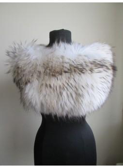 Knitted Fox Fur Beige Wrap Tube Eternity Scarf  Collar Stole  Women's