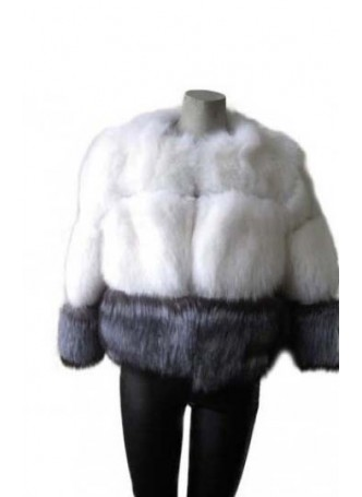 Silver & White Fox Fur Jacket  Coat Bolero Women's