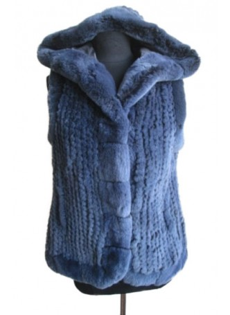 Knitted Rex Rabbit Fur Bue Vest with Hood Women's