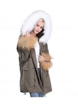 Military Style Green Winter Jacket Coat with Hood White Fox Fur Trims & Rex Rabbit Lining Women's