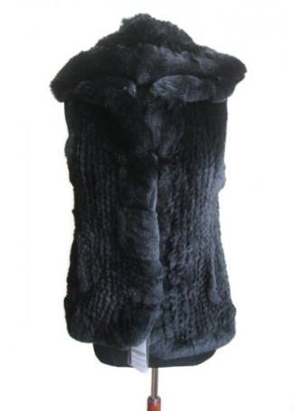 Knitted Rex Rabbit Fur Black  Vest with Hood Women's