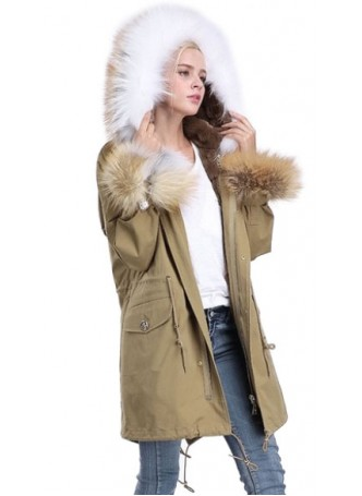 Military Style Green Winter Jacket Coat with Hood White Fox Fur Trims & Rex Rabbit Lining Women's