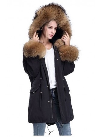 Winter Jacket Coat Black  with Finn Raccoon Fur Trims & Rex Rabbit Lining Women's