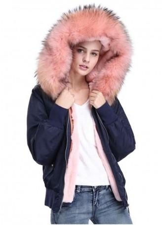 Winter Jacket Coat with Hood, Pink Fox Fur Trims & Rex Rabbit Lining Women's